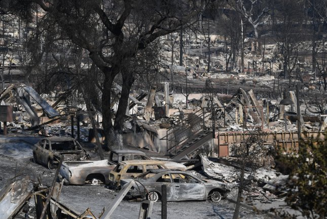 A new development lies in ruins in Santa Rosa, Calif., on Saturday. Photo by Terry Schmitt/UPI