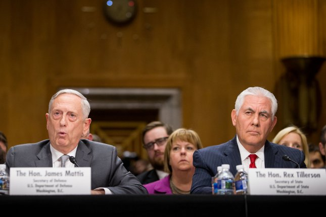 Secretary of Defense James Mattis (left) and Secretary of State Rex Tillerson testify during a Senate Foreign Relations Committee hearing on The Authorizations for the Use of Military Force: Administration Perspective on Capitol Hill in Washington, D.C., on October 30, 2017. Photo by Erin Schaff/UPI