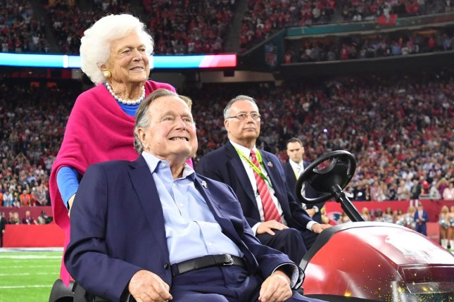 Former President George HW Bush and wife Barbara Bush attend the coin toss before Super Bowl LI on February 5, 2017. A family spokesman said Barbara Bush will not seek additional medical treatment following a series of recent hospitalizations. File Photo by Kevin Dietsch/UPI