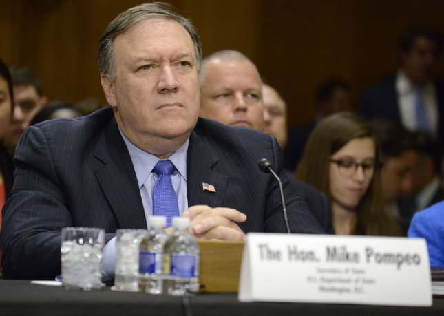 U.S. Secretary of State Mike Pompeo listens to a question during testimony before the Senate Foreign Affairs Committee, on Capitol Hill, on July 25. On Wednesday, Pompeo set a goal for complete denuclearization in North Korea by January 2021. File Photo by Mike Theiler/UPI