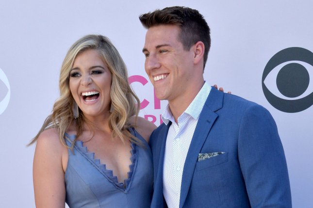 Lauren Alaina (L), pictured with Alex Hopkins, announced her split from Hopkins in an Instagram post Monday. File Photo by Jim Ruymen/UPI