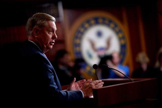Sen. Lindsey Graham speaks to reporters about special counsel Robert Mueller's Russia report on Capitol Hill on Monday. Photo by Kevin Dietsch/UPI