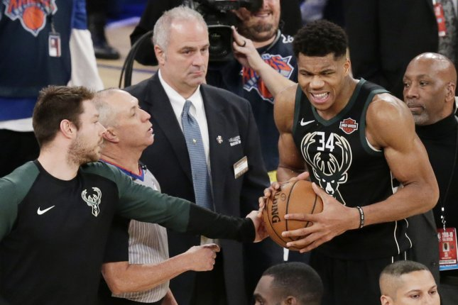 Milwaukee Bucks star Giannis Antetokounmpo had a huge block on a Joel Embiid dunk attempt in the Milwaukee Bukcs' win against the Philadelphia 76ers Thursday in Philadelphia. File Photo by John Angelillo/UPI