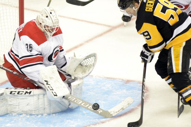 Carolina Hurricanes goaltender Curtis McElhinney replaced Petr Mrazek in Game 3 on Tuesday night. Mrazek allowed 10 goals in the first two games of the series. File Photo by Archie Carpenter/UPI