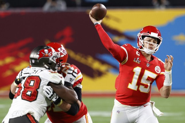 Kansas City Chiefs quarterback Patrick Mahomes (15) signed a 10-year contract extension with the Chiefs in July. File Photo by John Angelillo/UPI