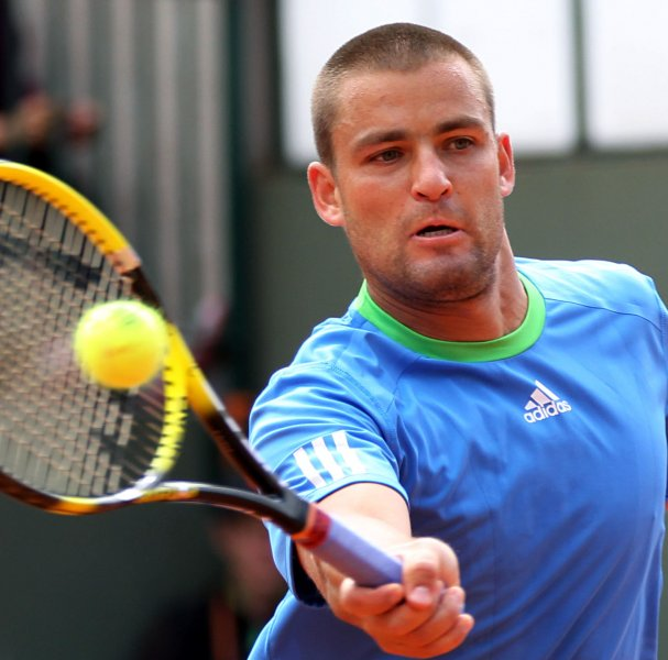 Mikhail Youzhny, shown playing in a match last May, posted a straight-set win Sunday in the finals of the PBZ Zagreb Indoors tennis tournament. . UPI/David Silpa