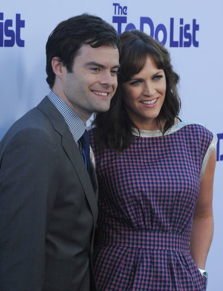 Maggie Carey (R) and husband Bill Hader welcomed their third child over the weekend. (UPI/Jim Ruymen)