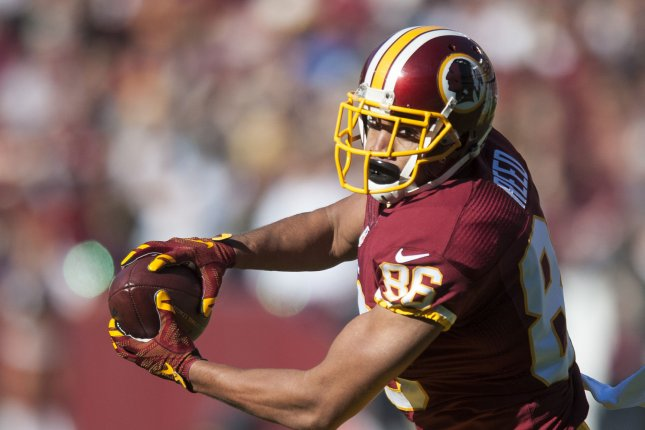 Washington Redskins' tight end Jordan Reed makes a catch during the first quarter against the New Orleans Saints at FedExField on November 15, 2015 in Landover, Maryland. Photo by Pete Marovich/UPI