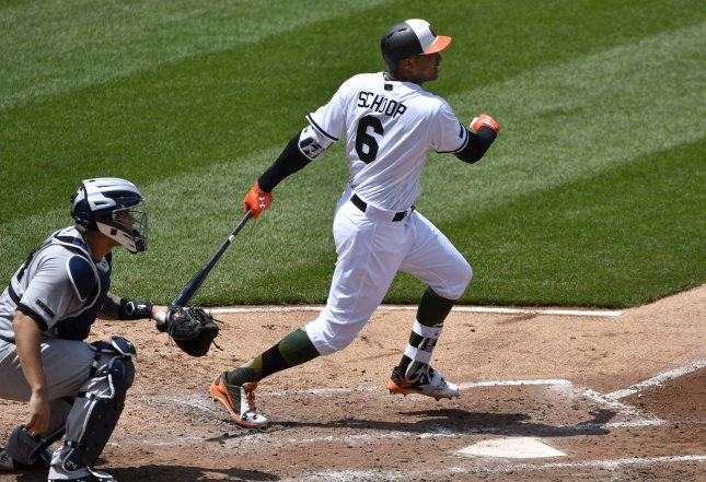 Jonathan Schoop and the Baltimore Orioles fought their way past the Minnesota Twins on Saturday. Photo by David Tulis/UPI
