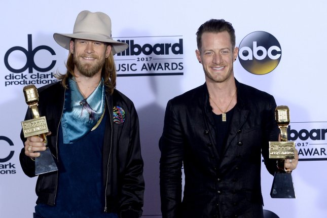 Tyler Hubbard (R) and Brian Kelley of Florida Georgia Line attend the Billboard Music Awards on May 21. File Photo by Jim Ruymen/UPI