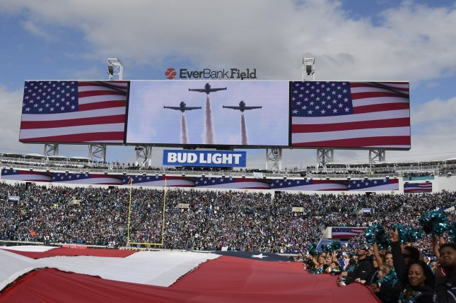 The National Anthem is performed prior to the Jacksonville Jaguars and Buffalo Bills NFL Wild Card game on January 7, 2018 at EverBank Field in Jacksonville, Florida. Photo by Joe Marino/Bill Cantrell/UPI