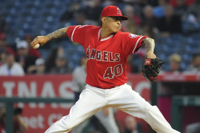 Former Los Angeles Angels pitcher Jesse Chavez posted a 5-2 record last season. Photo by Lori Shepler/UPI