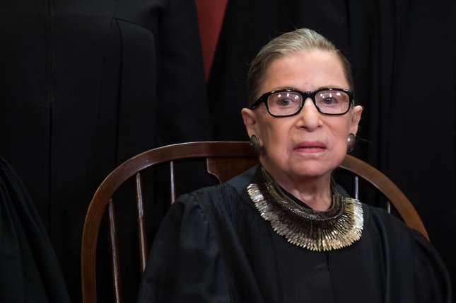 Boston Brewing Co., makers of Samuel Adams beer, announced the brewing of a beer honoring Supreme Court Associate Justice Ruth Bader Ginsburg on Friday. When There Are Nine beer will be available beginning March 29. File Photo by Kevin Dietsch/UPI