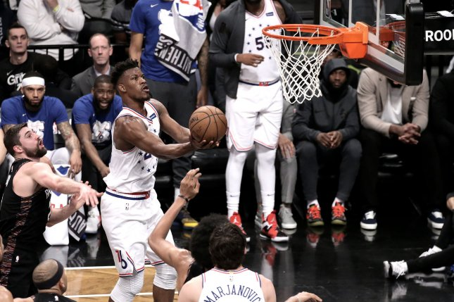 Philadelphia 76ers forward Jimmy Butler (C) had 30 points, 11 rebounds and five assists in the 76ers' Game 2 win over the Toronto Raptors on Monday night. Photo by Peter Foley/UPI