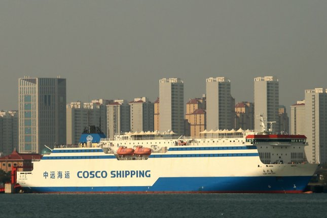 A Chinese shipping vessel is seen Monday at the port in Qingdao in Shandong Province. Photo by Stephen Shaver/UPI