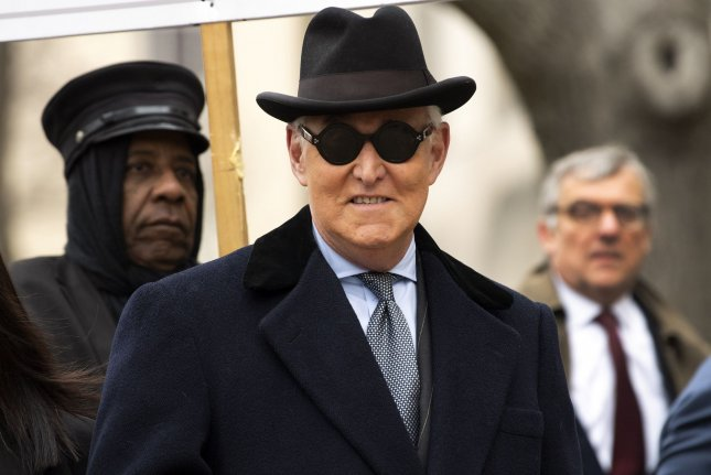Roger Stone, former campaign adviser to President Donald Trump, arrives at the E. Barrett Prettyman Courthouse in Washington, D.C., for a sentencing hearing on February 20. File Photo by Kevin Dietsch/UPI