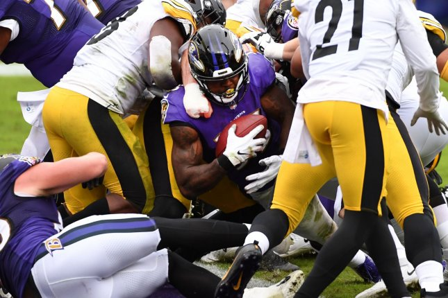 The Baltimore Ravens and Pittsburgh Steelers game has been moved to Sunday after several Ravens players tested positive for COVID-19. File Photo by Kevin Dietsch/UPI