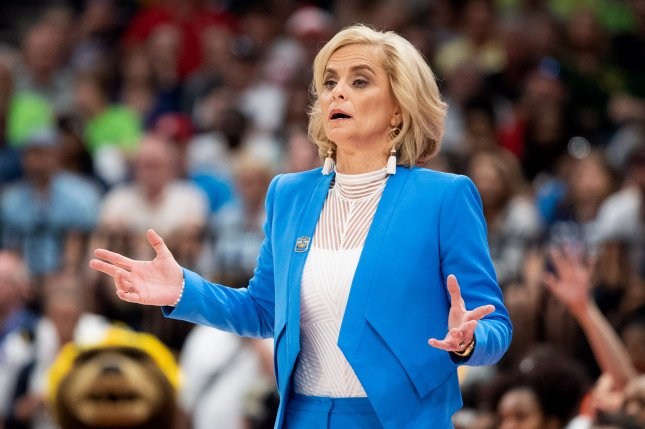 Former Baylor Lady Bears head basketball coach Kim Mulkey, shown April 7, 2019, guided the program to three national championships over 21 seasons at the school. File Photo by Kevin Dietsch/UPI