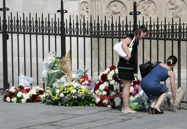 Flowers are placed at a Notre Dame Cathedral memorial in Paris June 3, 2009, for the victims of Air France Flight 447, which crashed in the Atlantic two days earlier, killing all 228 people on board. File Photo by Eco Clement/UPI