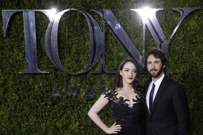 Kat Dennings and Josh Groban arrive on the red carpet at the 69th annual Tony Awards on June 7, 2015 in New York City. Photo by John Angelillo/UPI