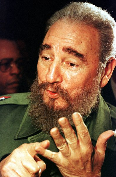Fidel Castro pictured in Vancouver in December 1995, listing reasons why he's upset with U.S. economic sanctions against his country, and taking the long way home from an Asian trade mission by flying east across Canada and then south over the Atlantic back to Cuba. Friday, Castro, now 88, made his first public appearance in three months, visiting 19 cheese masters at the Food Industry Ministry. File photo by H. Ruckemann/UPI
