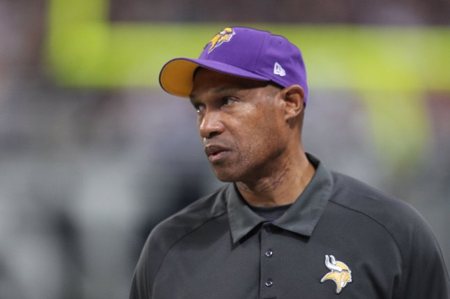 Former Minnesota Vikings head football coach Leslie Frazier walks the sidelines during a game against the St. Louis Rams at the Edward Jones Dome in St. Louis on December 16, 2012. UPI/Bill Greenblatt
