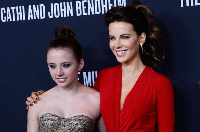Kate Beckinsale (R) and daughter Lily Mo Sheen at The Pink Party on October 19, 2013. The actress shares her daughter with Michael Sheen. File Photo by Jim Ruymen/UPI
