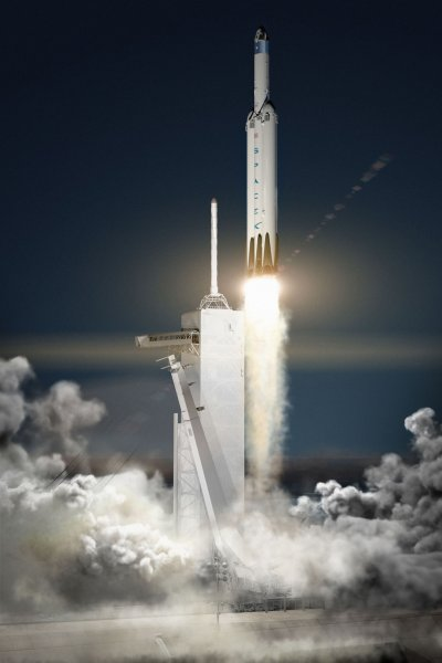 Artist concept released by SpaceX on April 27, 2016, of its Falcon Heavy rocket and Dragon space capsule launching into orbit. SpaceX today announced that it anticipated sending its Dragon capsule to Mars by 2018. NASA estimates SpaceX will spend about $300 million on getting its unmanned Red Dragon to Mars. Photo by SpaceX/UPI