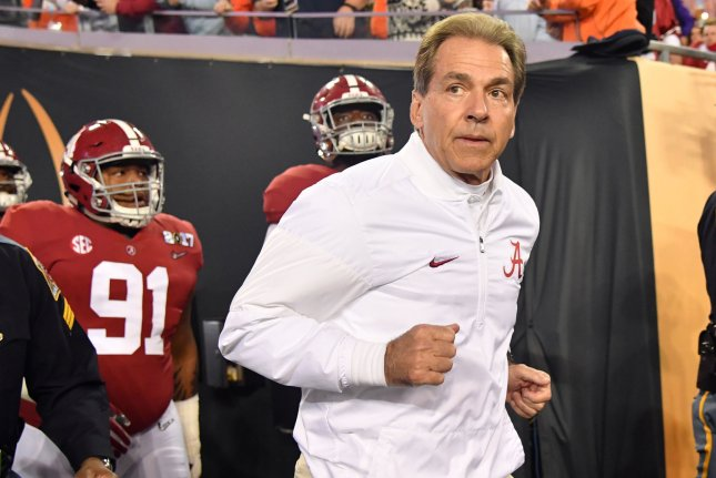 Alabama Crimson Tide head coach Nick Saban takes the field before the game against the Clemson Tigers in the 2017 College Football Playoff National Championship in Tampa, Florida on January 9, 2017. Photo by Kevin Dietsch/UPI