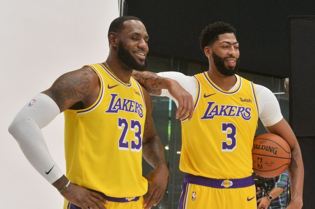 Los Angeles Lakers forward Anthony Davis (3) suffered a sprained right thumb during last week's preseason game against the Brooklyn Nets. File Photo by Jim Ruymen/UPI