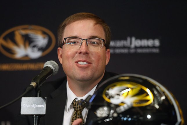 Eliah Drinkwitz is introduced as the University of Missouri's 33rd head football coach during a press conference Tuesday at Faurot Field in Columbia, Missouri. Photo by Bill Greenblatt/UPI