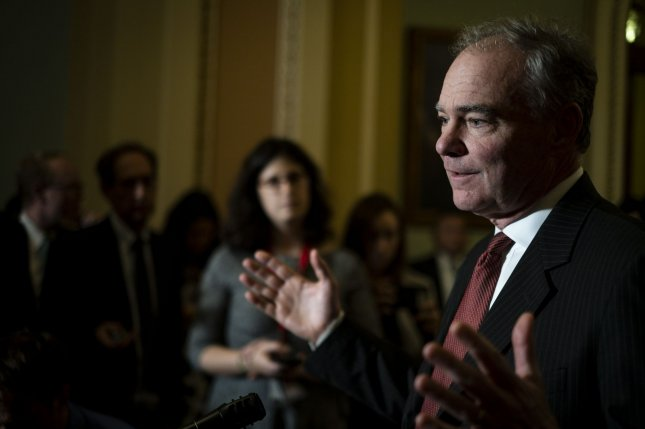 Sen. Tim Kaine, D-Va., shown here at a policy luncheon in October, applauded the Senate Foreign Relations Committee's passage of a bill that would prevent any President from unilaterally exiting NATO. File Photo by Pete Marovich/UPI