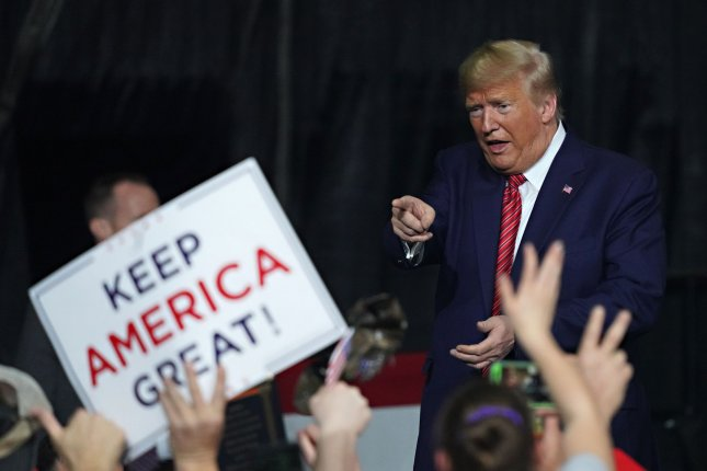 U.S. President Donald Trump addresses supporters at a rally at the North Charleston Coliseum on Friday. Photo by Richard Ellis/UPI