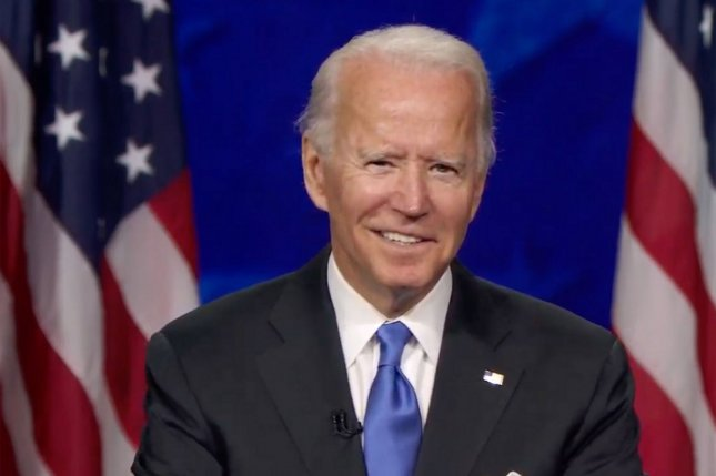 Former Vice President Joe Biden accepts the Democratic Party's nomination for president on Thursday, the final night of the 2020 Democratic National Convention, from Wilmington, Del. UPI Photo