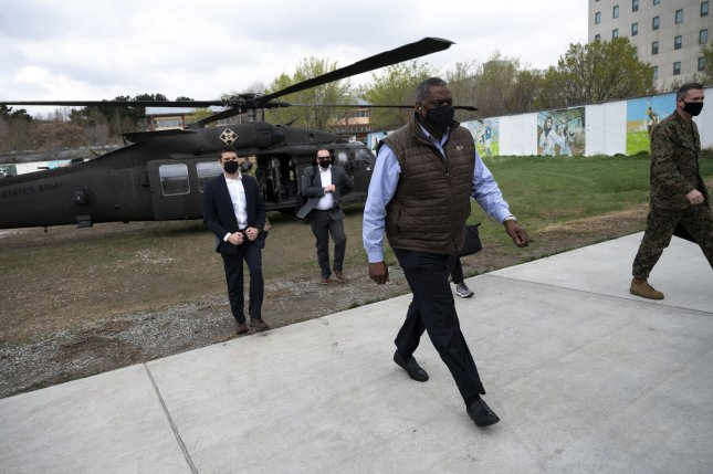 Secretary of Defense Lloyd J. Austin III arrives at Resolute Support Headquarters in Kabul, Afghanistan, March 21. Austin has ordered an increased military presence in the region to protect troops as they withdraw. File photo by Lisa Ferdinando/DoD/UPI
