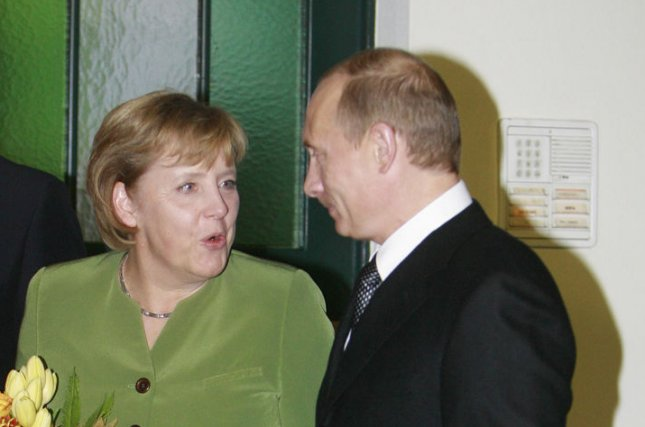 German Chancellor Angela Merkel and Russian President Vladimir Putin (pictured in 2007), joined by French President Francois Hollande, urged Ukrainian President Petro Poroshenko on June 29, 2014 to further extend his unilateral cease-fire for the restive eastern Ukraine. (UPI Photo/Anatoli Zhdanov)