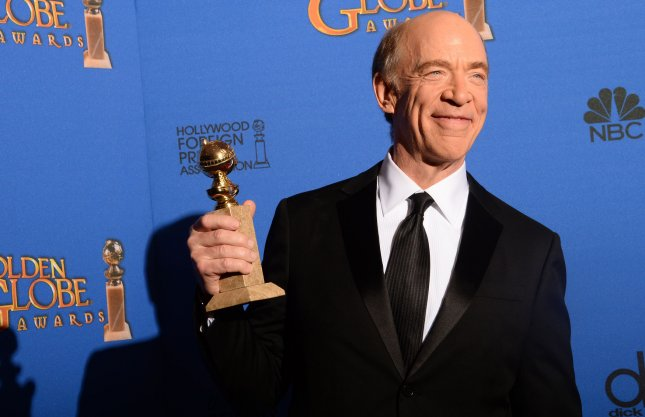 J.K. Simmons appears backstage with the award he won for his role in Whiplash during the 72nd annual Golden Globe Awards at the Beverly Hilton Hotel in Beverly Hills, California on January 11, 2015. Photo by Jim Ruymen/UPI