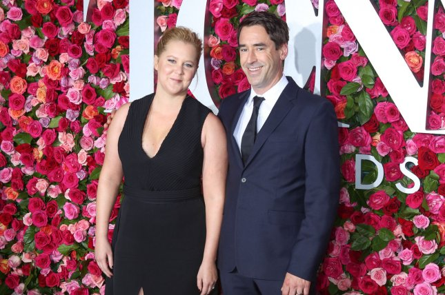 Amy Schumer (L) and Chris Fischer attend the Tony Awards on Sunday. Photo by Serena Xu-Ning/UPI