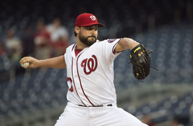 Tanner Roark and the Washington Nationals face the Toronto Blue Jays on Sunday. Photo by Kevin Dietsch/UPI