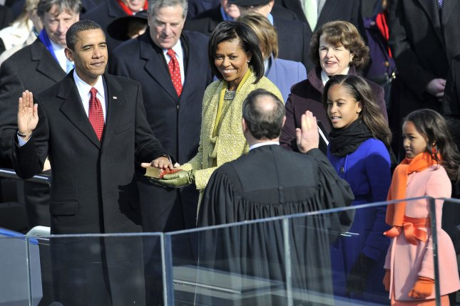 Barack Obama is sworn in as the 44th president of the United States during his inauguration ceremony on Capitol Hill in Washington, D.C., on January 20, 2009. File Photo by Kevin Dietsch/UPI