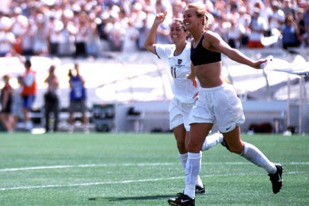 Brandi Chastain's game-winning goal from the 1999 World Cup final in Pasadena, Calif., will be featured in a new movie headed to Netflix. File Photo by Jon SooHoo/UPI