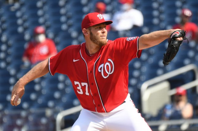 Washington Nationals starting pitcher Stephen Strasburg, shown April 7, 2021, was put on the 10-day injured list with a neck strain. File Photo by Pat Benic/UPI