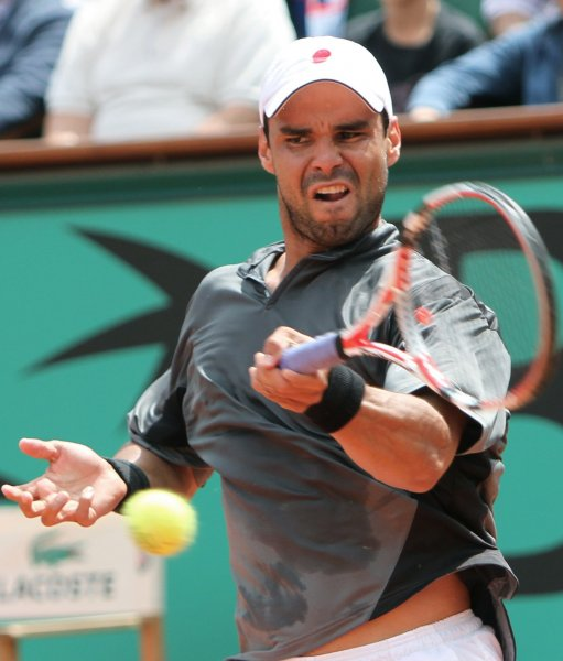 Alejandro Falla, shown in a file photo from the 2010 French Open, posted a first-round upset win Monday at the Heineken Open in New Zealand. UPI/David Silpa