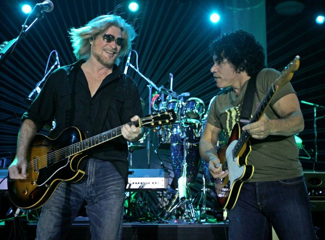 Daryl Hall (L) and John Oates with Hall and Oates perform in concert at the Pompano Beach Amphitheater in Pompano Beach, Florida on May 30, 2010. UPI/Michael Bush
