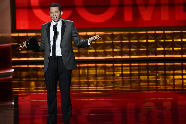Actor Jon Cryer receives the Emmy Award for Lead Actor in a Comedy Series for Two and a Half Men at the Nokia Theatre in Los Angeles on Sept. 23, 2012. Photo by Jim Ruymen/UPI