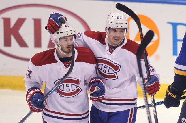 Montreal Canadiens Paul Byron (L) is congratulated by Artturi Lehkonen of Finland after scoring a goal against the St. Louis Blues in the first period at the Scottrade Center in St. Louis on December 6, 2016. Photo by Bill Greenblatt/UPI