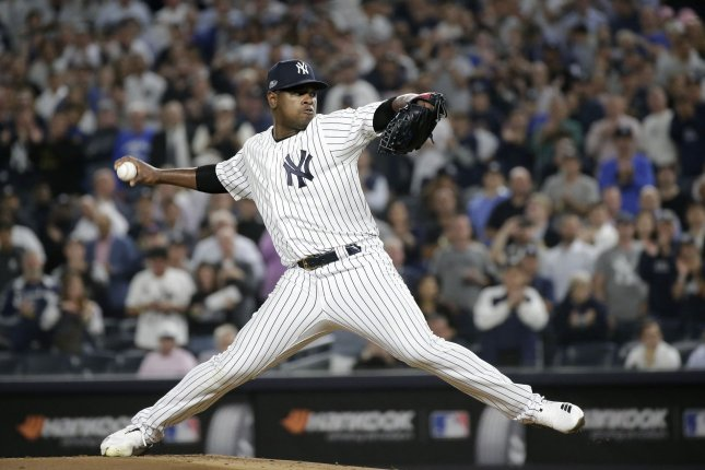 Luis Severino, 24, posted a 3.39 ERA and a 19-8 record in 32 starts last season for the Yankees, earning his second consecutive All-Star selection. File Photo by John Angelillo/UPI