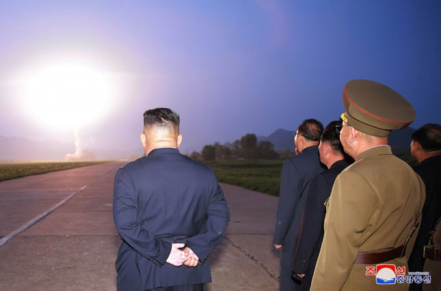 North Korea launched projectiles into the East Sea Friday, the sixth such launch since July 25. Photo by KCNA/UPI