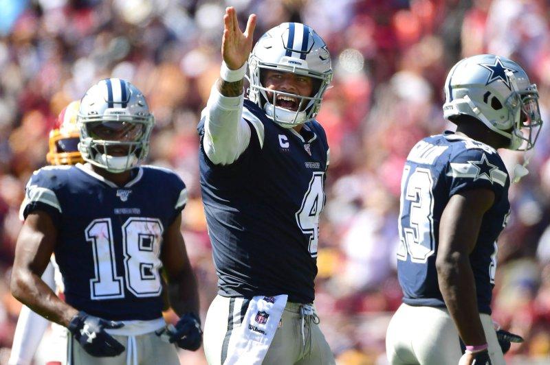 Dallas Cowboys quarterback Dak Prescott (4) has completed 82.3 percent of his pass attempts this season. Photo by Kevin Dietsch/UPI