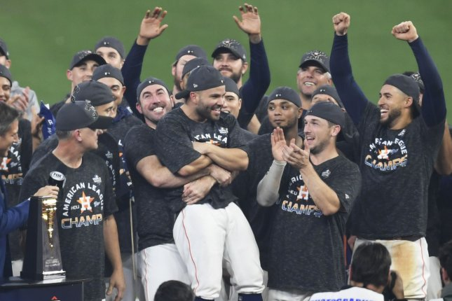 2019 American League Championship Series MVP Jose Altuve (C) led the Houston Astros to the World Series by hitting a walk-off homer against the New York Yankees Saturday in Houston. Photo by Trask Smith/UPI